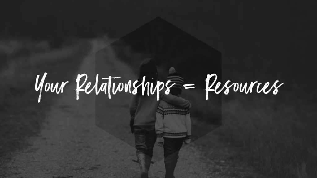 Entrepreneurs should look to their relationships for resources to help them.