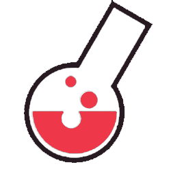 Labs logo is a beaker drawn with red liquid inside